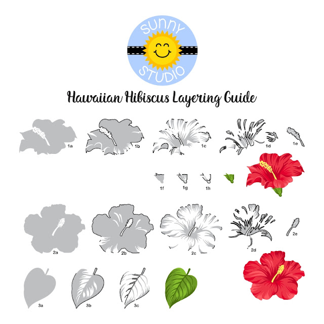 Sunny Studio Stamps: Hawaiian Hibiscus Layered Flower Stamp Alignment Guide