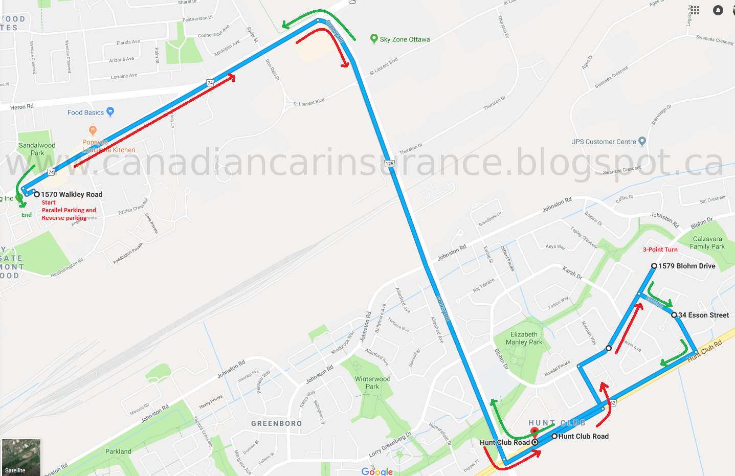 Ottawa Walkley G Road Test Route 3 Maps