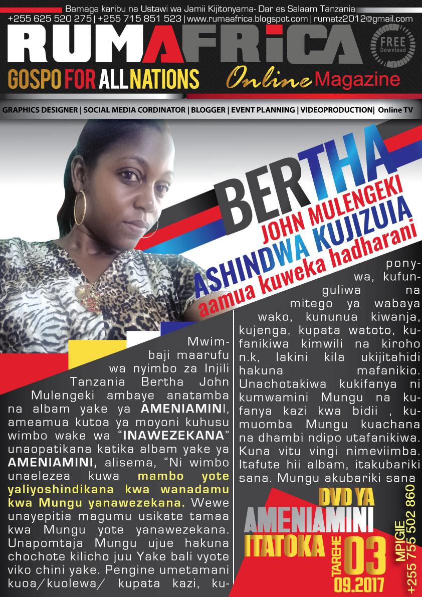 Rumafrica magazine bertha john mulengeki atoa ya moyoni Internet magasin