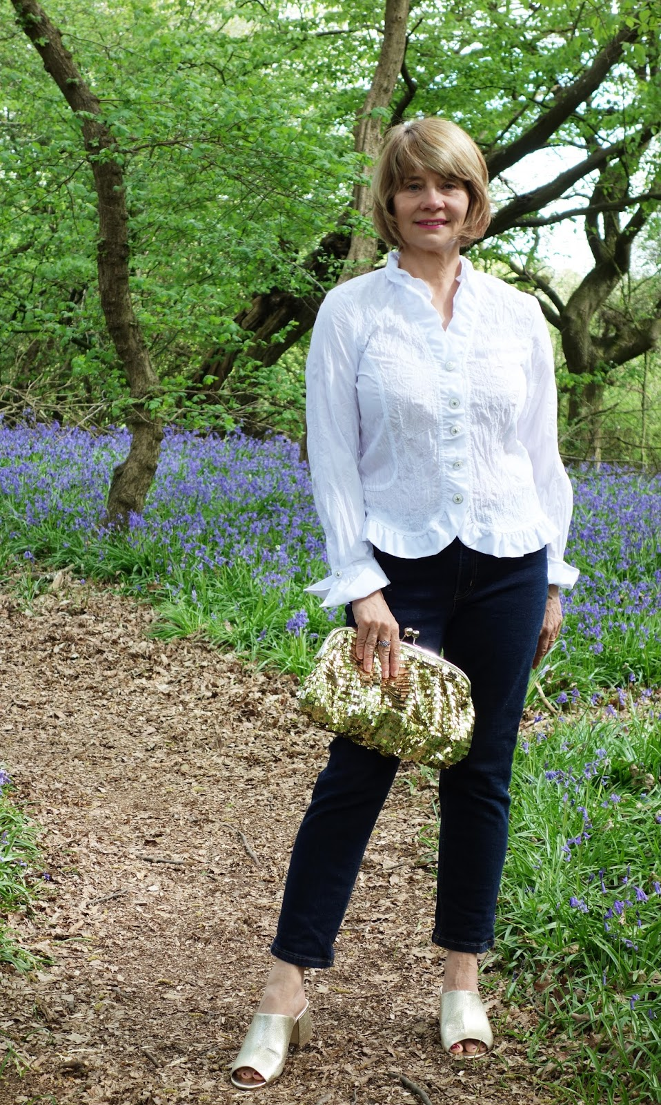 Dressed for a bluebell wood walk: Boden jeans, Peter Hahn white shirt and Marks and Spencer gold mules