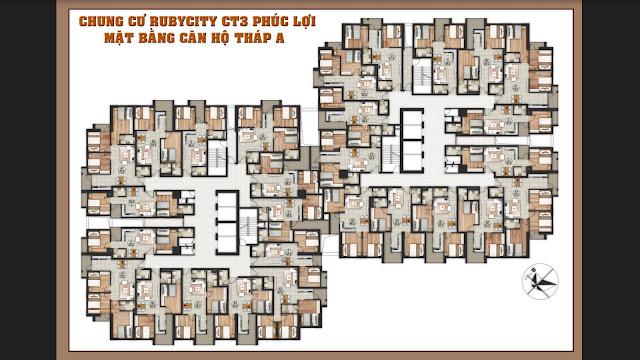 Mặt bằng tháp A chung cư Ruby City Ct3