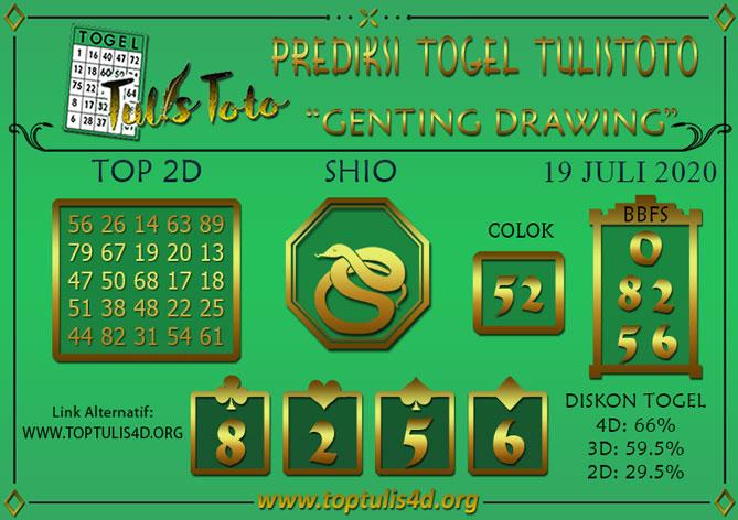 Prediksi Togel GENTING DRAWING TULISTOTO 19 JULI 2020