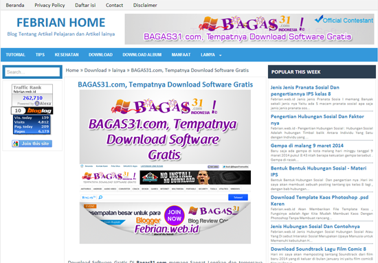 Pengumuman Event: BAGAS31 Blog Review Competition 2