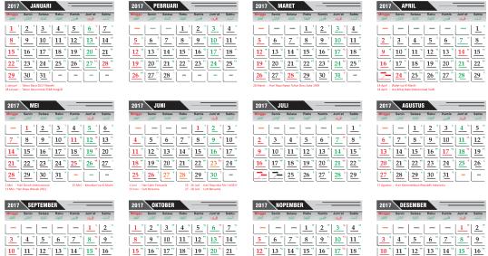 template kalender 2017 lengkap hijriah dan jawa