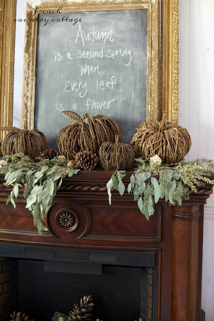 French Country Fridays- Rustic Autumn Mantel