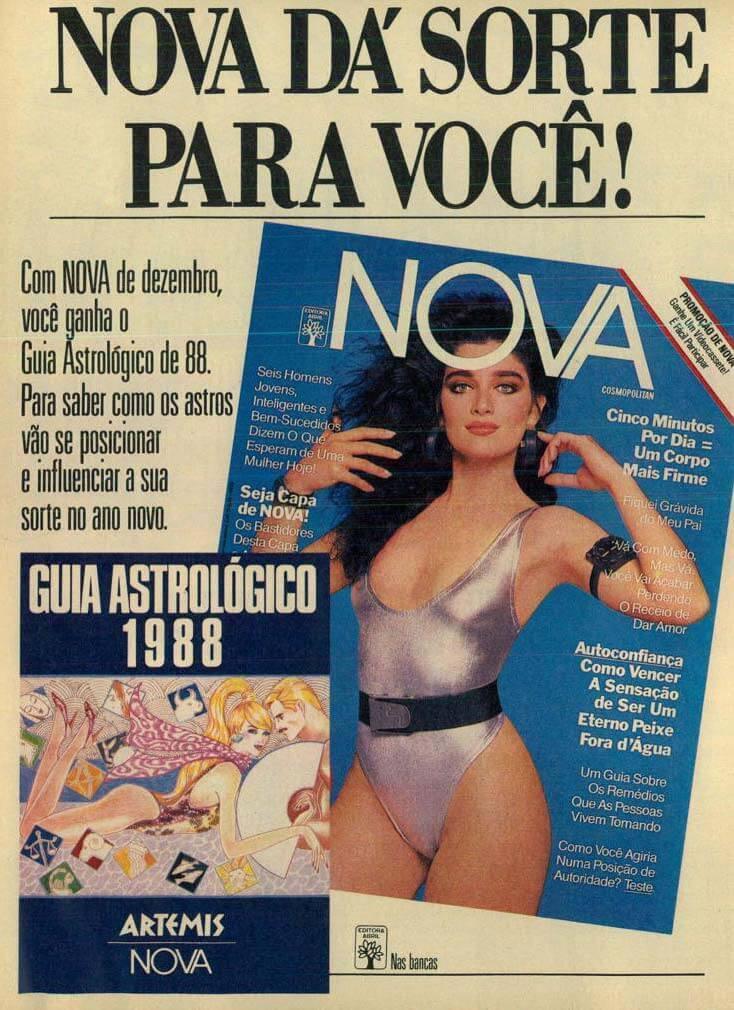 Propaganda antiga com destaques da Revista Nova para o mês de dezembro de 1987