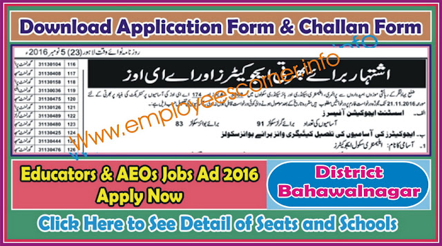 Educators Jobs in District Bahawalnagar 2016-17