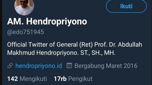Twit Provokatif, Fahri Hamzah: Apa ini Betul Akun Resmi Pak Hendro Mantan Kepala BIN?