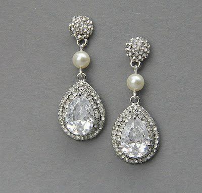 crystal teardrop bridal earrings