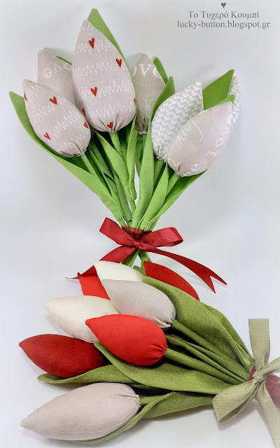 Μπουκέτο από υφασμάτινες τουλίπες με καρδούλες