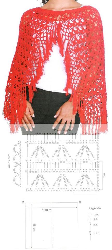 Patron Crochet Chal con Flecos