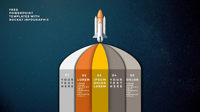 Free PowerPoint Template with Rocket Infographics and Number Option