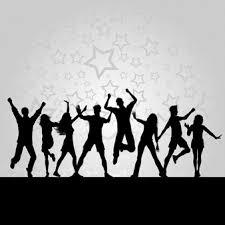 Fotografía con unas siluetas en negro de unos jovenes bailando y un fondo gris claro con estrellas en gris más oscuro