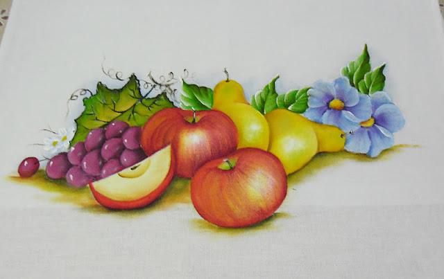 pintura de maças, peras e uvas