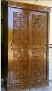 lemari geser 2 pintu jati minimalis