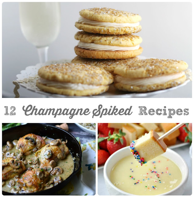 These 12 Champagne Spiked Recipes are perfect for planning your New Year's Eve menu or for using up that leftover champagne after wards.