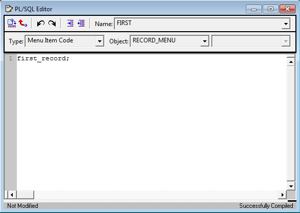 PL/SQL Editor for Pop Up Menus in Oracle Forms