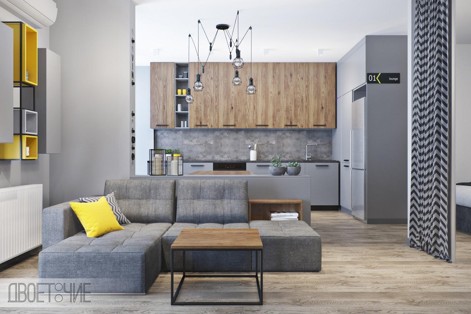 вместить всё или дизайн квартиры студии в стиле лофт кухня