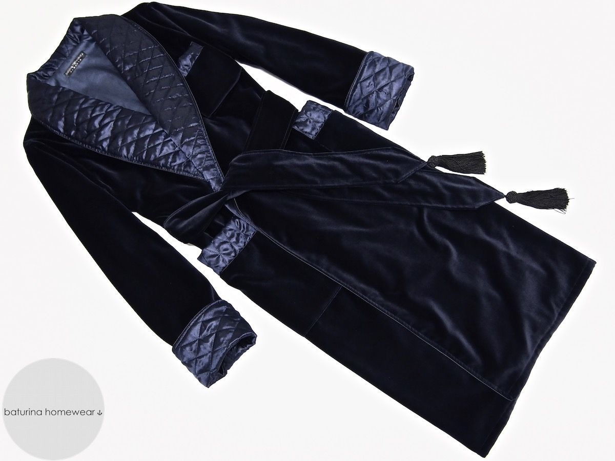 Men\'s Navy Blue Velvet and Quilted Silk Dressing Gown
