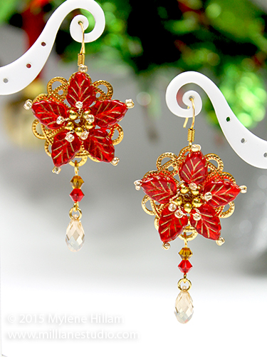 Beaded Poinsettia earrings