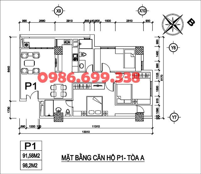 căn P1 tòa A chung cư AZ Sky Định Công