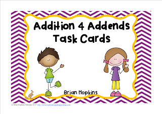 Addition 4 Addends Task Cards FREEBIE