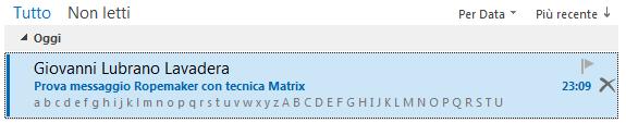 ROPEMAKER, Matrix - Nell'anteprima dell'elenco messaggi vengono visualizzati tutti i caratteri