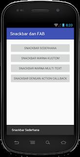 Hasil Snackbar Sederhana Android