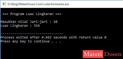 Contoh Identifier sebagai Konstanta dalam C++