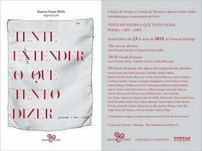 Capa do livro Tente Entender o que Tento Dizer e cartaz do lançamento do livro no Rio de Janeiro