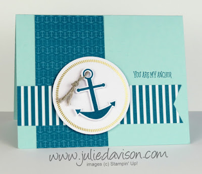 April 2018 Paper Pumpkin: 3 Stampin' Up! You Are My Anchor Alternative Designs ~ www.juliedavison.com ~