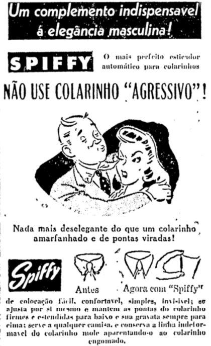 Propaganda de alinhador de colarinhos para camisas masculinas nos anos 40