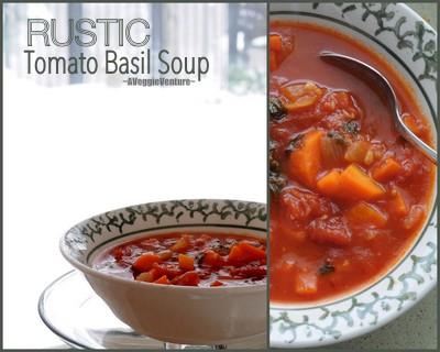 Rustic Tomato Basil Soup, more winter comfort food ♥ AVeggieVenture.com