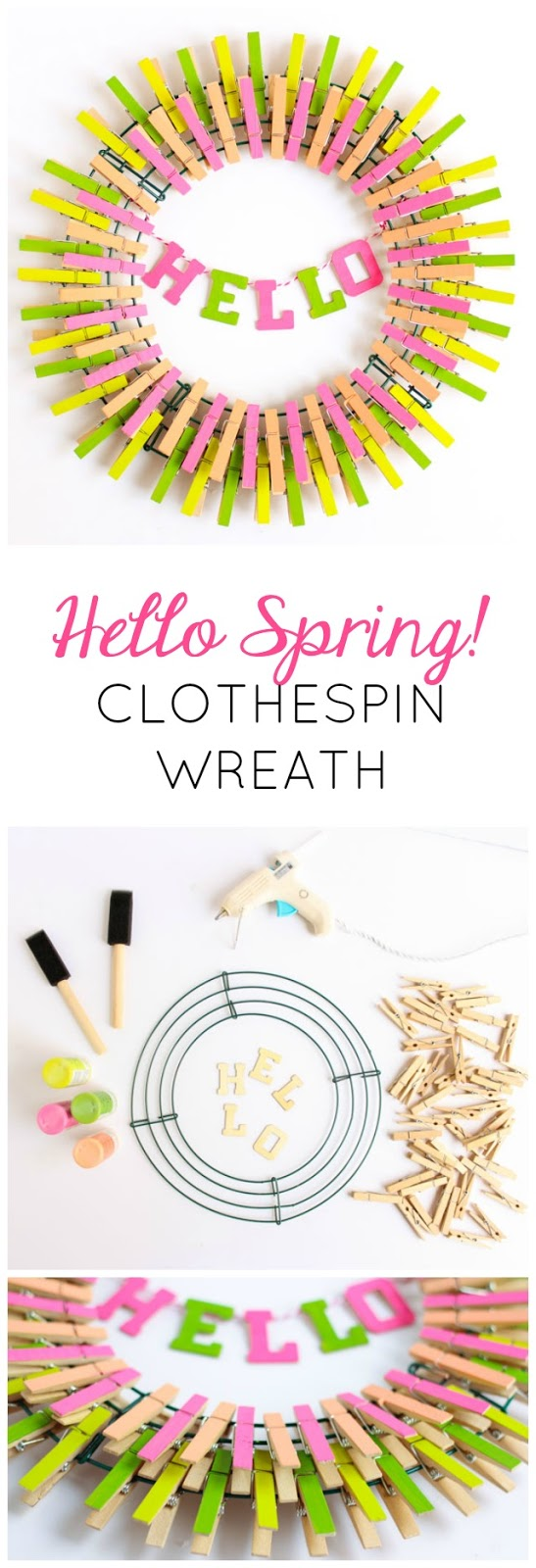 Hello Spring! This colorful DIY clothespin wreath is the perfect way to welcome spring to your home. #springwreath #clothespinwreath #clothespin #hellospring
