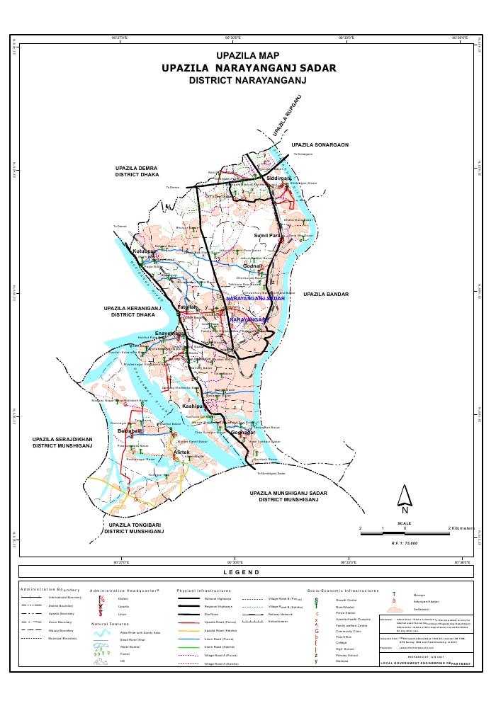 Narayanganj Sadar Upazila Map Narayanganj District Bangladesh