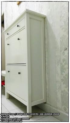 gambar rak kasut IKEA siri HEMNES berwarna putih