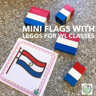 Mini Flags with Legos for Language Class
