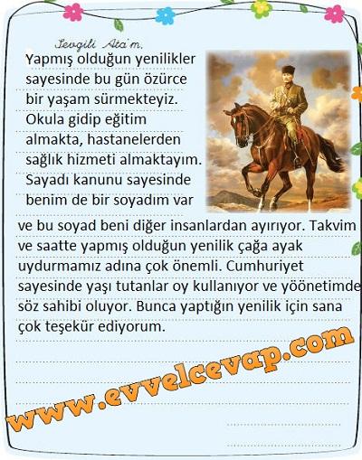 3. Sınıf Sevgi Yayınları Hayat Bilgisi Çalışma Kitabı 68. Sayfa Cevapları Atatürk ve İnsan Hakları Metni