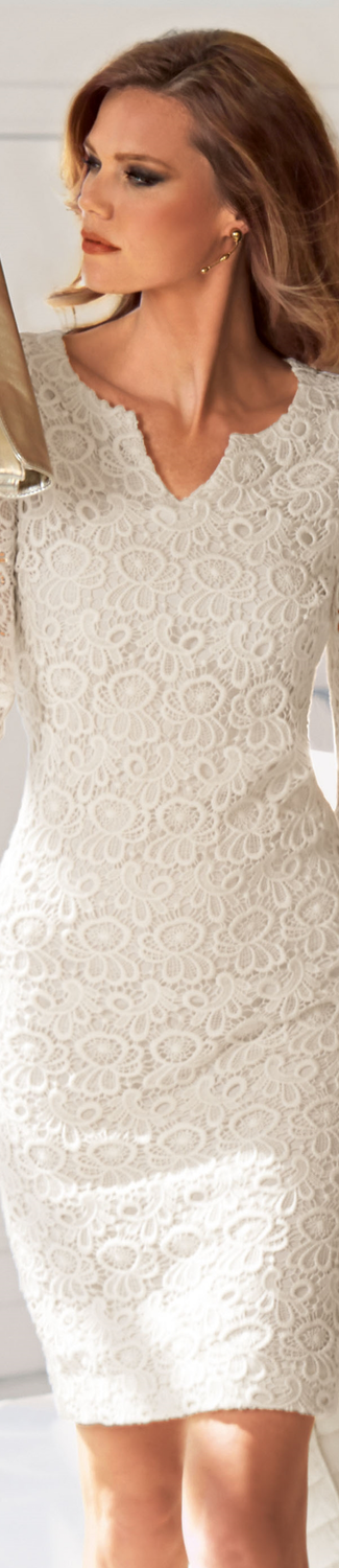 MADELEINE Beige Lace Dress