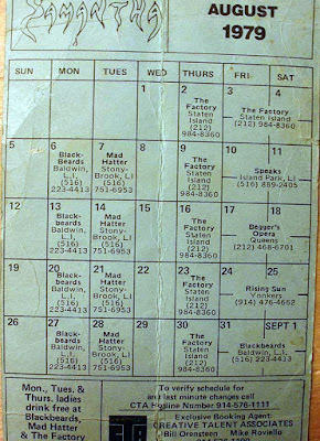 Samantha's club line up August 1979. The Factory was our second home after The Rock Palace.