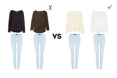 Пастельные джинсы с топами черного, шоколадного, кремового и белого цвета