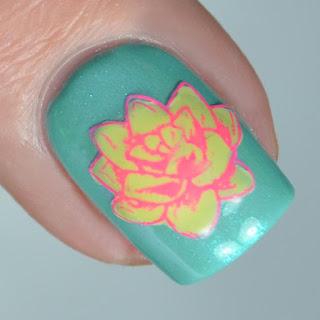 spring flower desert rose nail art