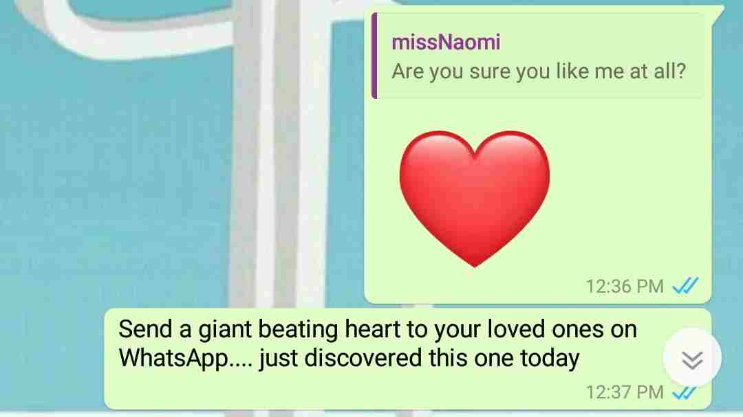 how to send a giant beating heart to anyone on whatsapp