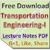 Lecture Notes on Transportation Engineering-I PDF