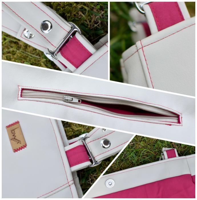 Übersicht aller Details meiner Tasche: silberne Buchschrauben und Gurtversteller, kontrastfarbene Verzierung und Nähte, Magnetverschluss, untergelegtes Reißverschlussfach