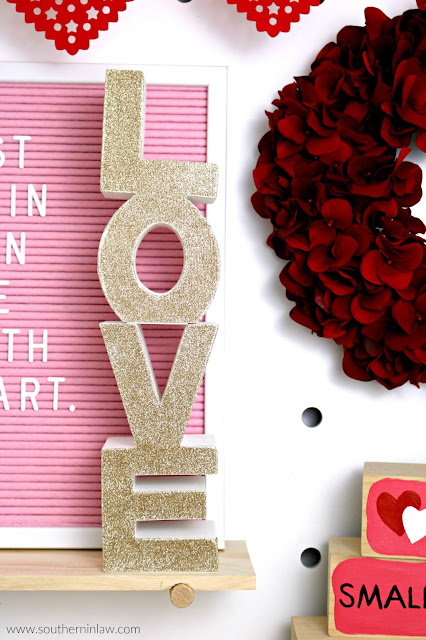 Valentine's Day Home Decor Styling – Ceramic Love Letters in Gold Glitter - inspiration, easy valentine's decoration ideas, red pink home décor theme