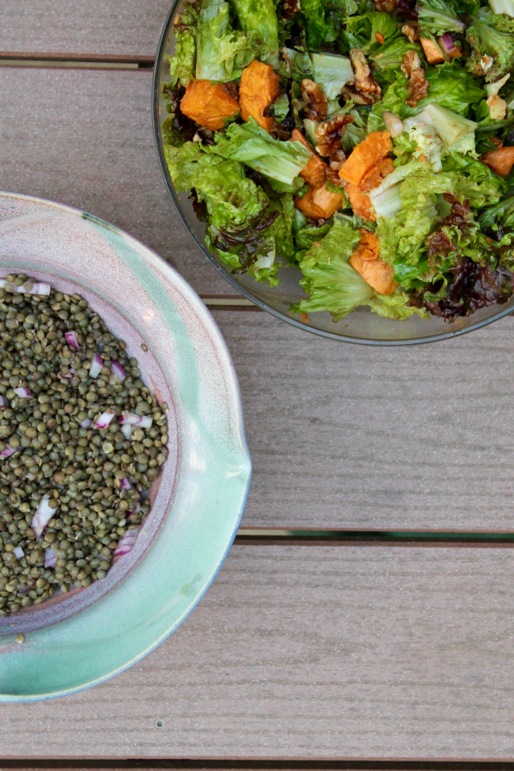 Lentil salad and summer sweet potato salad - One Day Healthy Food Diary