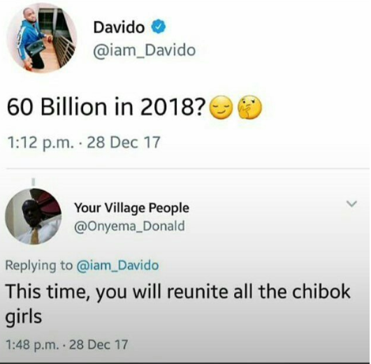 Savage! See someone's response to Davido's tweet
