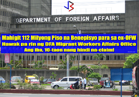 The Commission on Audit(COA) has discovered over 112 Million pesos in unclaimed End of Service Benefits (ESB) that are being held by the Department of Foreign Affairs via a bank account in the Philippine National Bank. That benefits should have been released to claimant Overseas Filipino Workers(OFW) for as far back as 10 years ago.  In its annual audit report on the DFA ending in December 2016, COA said the receipt and distribution by the Office of the Undersecretary for Migrant Workers Affairs (OUMWA) of the end-of-service benefits (ESB) due to Overseas Filipino Workers (OFW) or beneficiaries of the deceased OFWs remained unaccounted. This resulted in non-recognition of the cash in a bank account with a balance of PHP114,094,995.37 as of October 31, 2016.  The audit body noted that the interest income earned from the bank deposits in the net amount of PHP1,894,145.15 as of same period was not recorded and remitted to the National Treasury.  COA futher stated that the disbursements of the benefits were not also in accordance with the existing rules and regulations.  COA has asked DFA to submit a complete status report on all unclaimed and unreleased benefits - to include which has no identified beneficiary and which are with pending claims. recommended DFA to facilitate the prompt release of the ESB and hopefully to resolve issues and concerns affecting the release of benefits.   Among the roles of the DFA is to promote the rights and welfare of Filipino migrant workers. This includes assistance to facilitate the receipt and release of the end-of-service benefits (ESB) and other financial benefits due to the Filipino migrant worker or beneficiary of the deceased Filipino migrant workers.  The ESB or financial benefits are either released by the employer directly to the beneficiaries or remitted through the DFA Foreign Service Post (FSP).  The remittance of said benefits to FSP is receipted by its Collecting Officer and deposited to its bank account. Then, the Post 