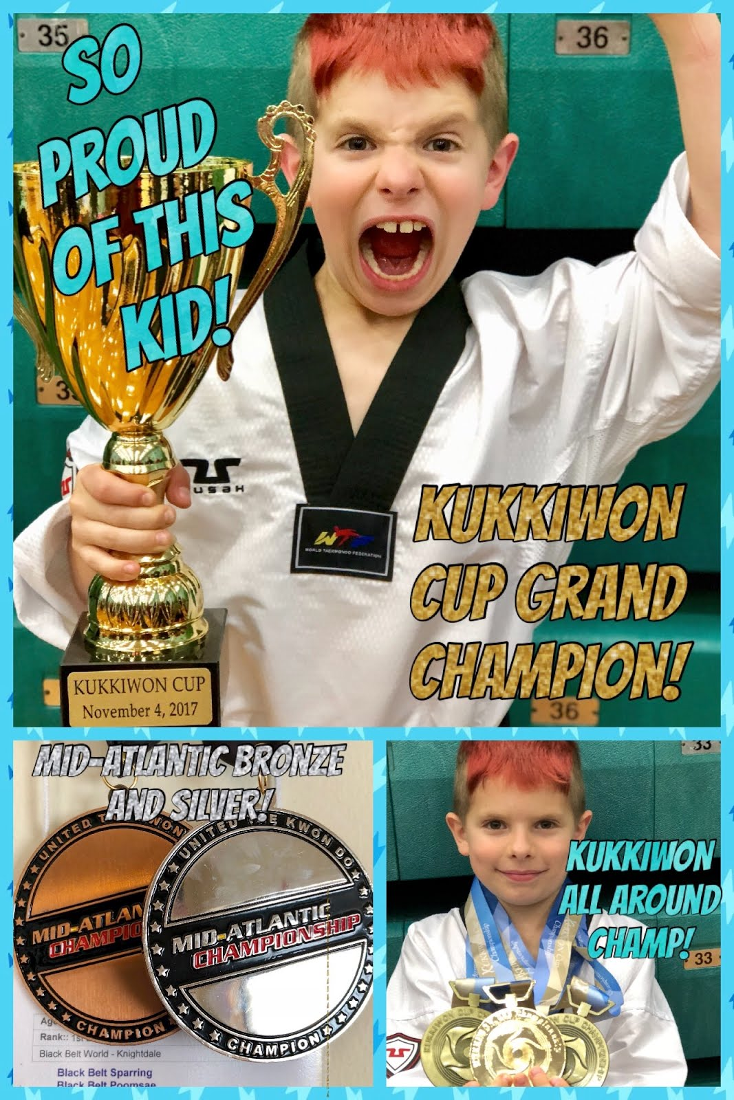 Kukkiwon Cup Grand Champion and Bronze and Silver Medalist at Mid-Atlantic November 2017